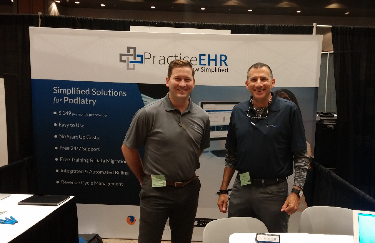 Practice EHR booth at the Frisco podiatry conference