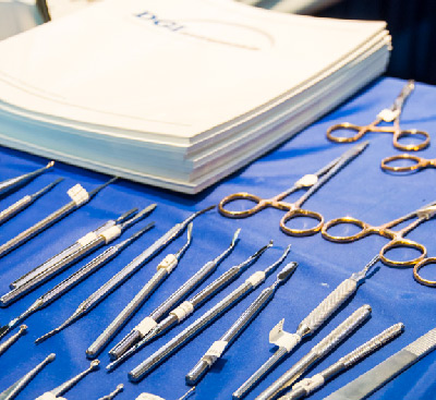 Podiatry hand instruments on display